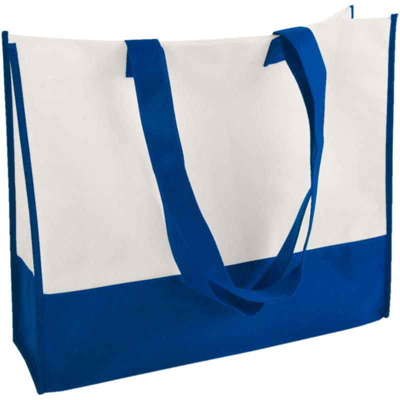 shopper in tnt bicolore royal/bianco con soffietti manici tnt