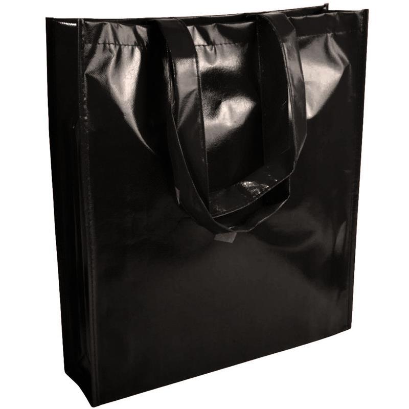 shopper in tnt laminato specchio nero con soffietto e manici tnt