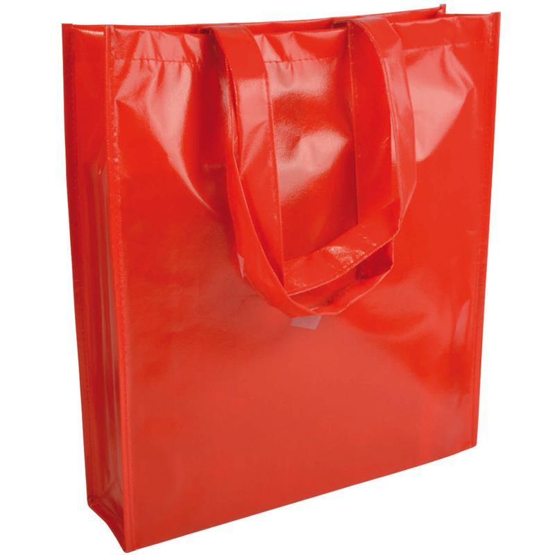 shopper in tnt laminato specchio rosso con soffietto e manici tnt