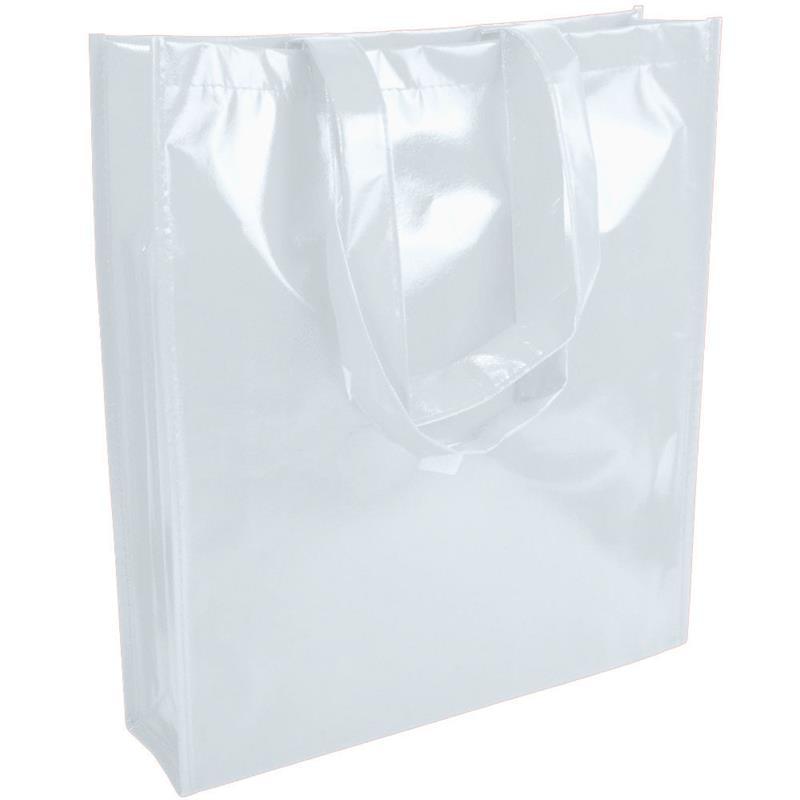 shopper in tnt laminato specchio bianco con soffietto e manici tnt