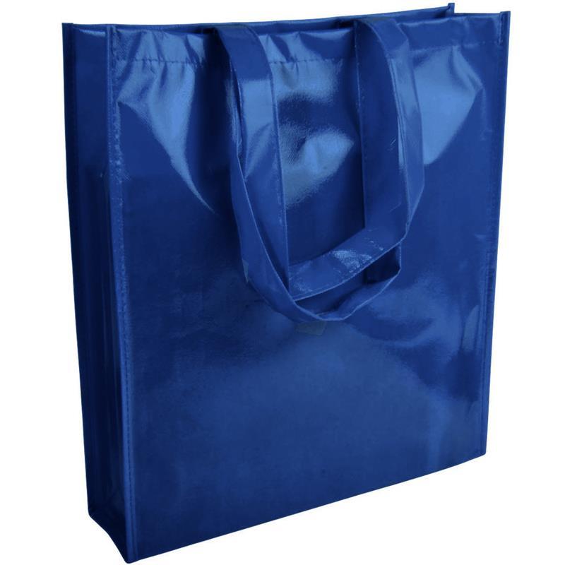 shopper in tnt laminato specchio blu navy con soffietto e manici tnt