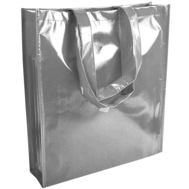 shopper in tnt laminato specchio argento con soffietto e manici tnt