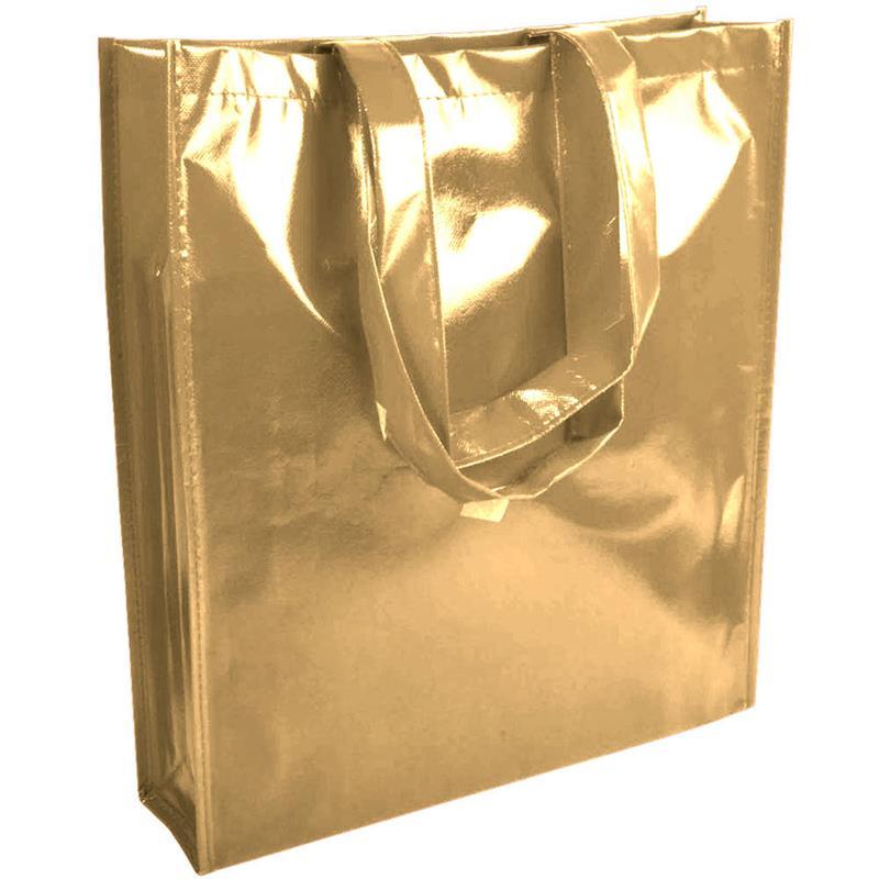 shopper in tnt laminato specchio oro con soffietto e manici tnt