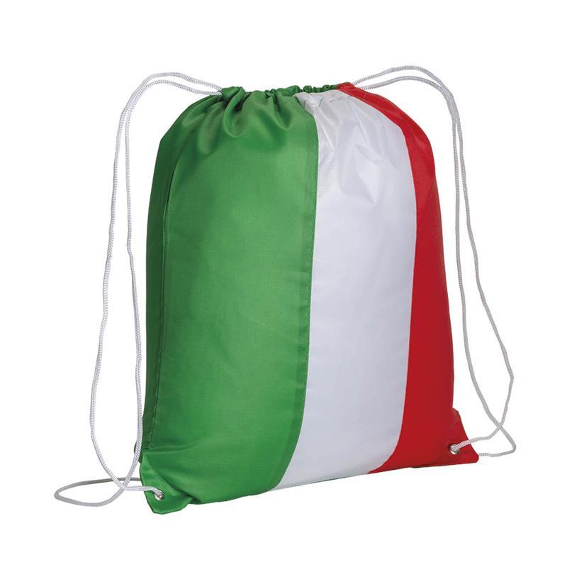 sacca in poliestere tricolore con lacci bianchi