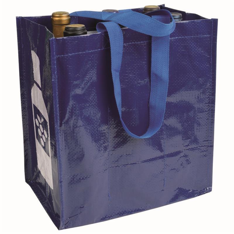 shopper porta bottiglia in pp laminato blu navy