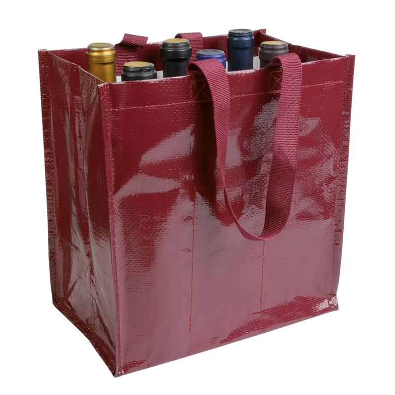 shopper porta bottiglia in pp laminato bordeaux