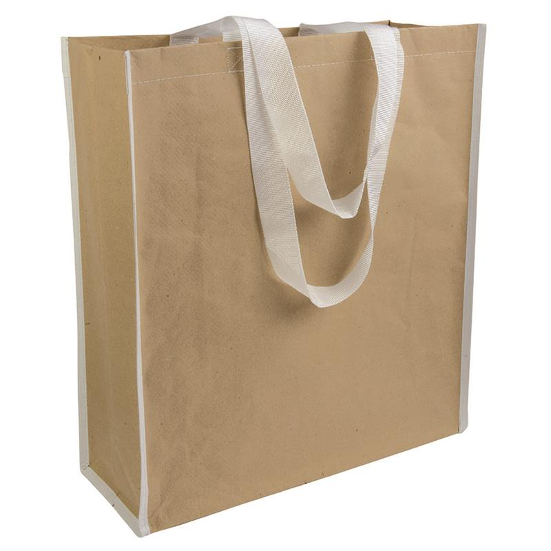 shopper in carta con interno in pp manici bianchi e soffietto