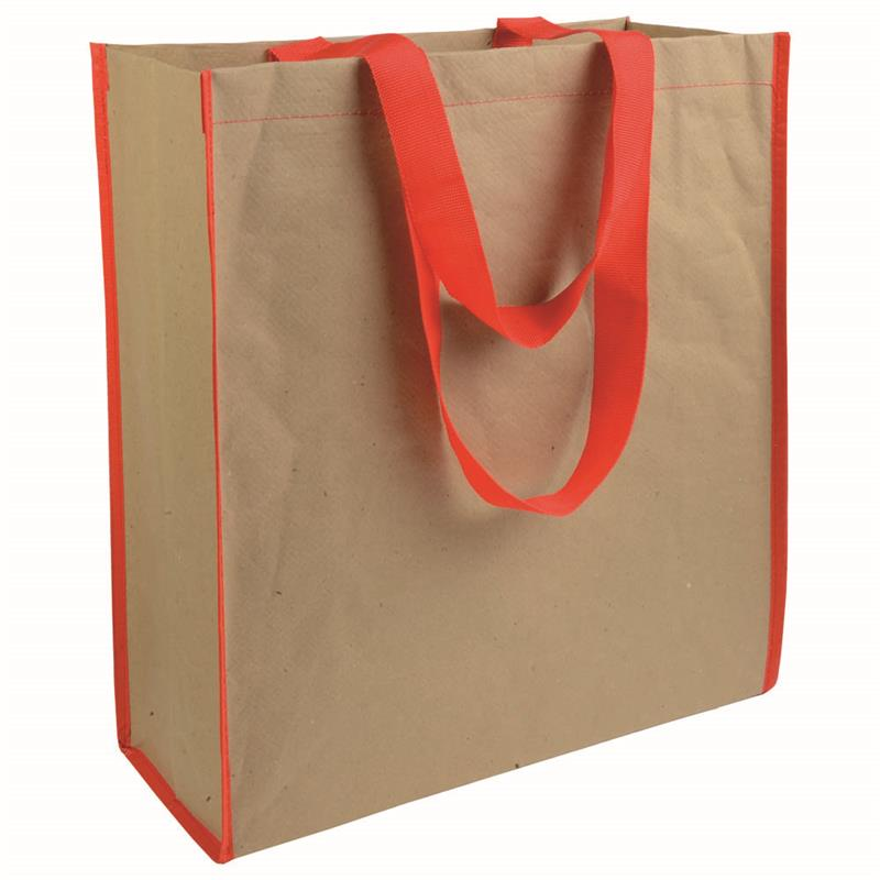 shopper in carta con interno in pp manici rossi e soffietto