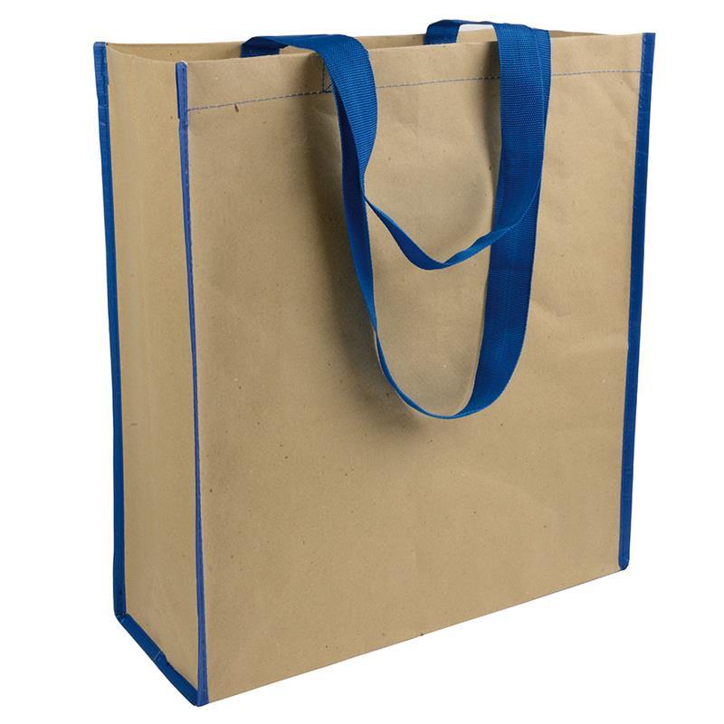 shopper in carta con interno in pp manici blu navy e soffietto