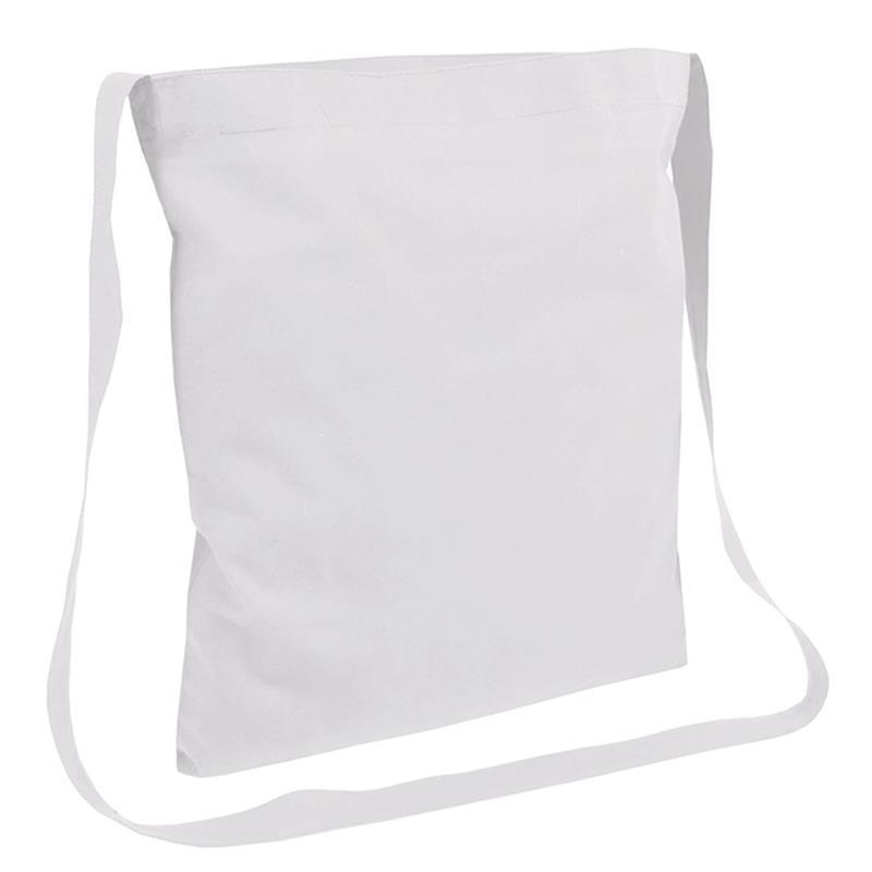 shopper in cotone bianco senza soffietti manici tracolla