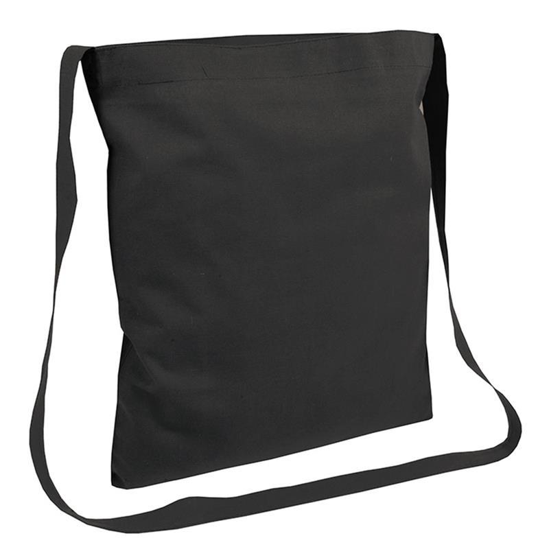 shopper in cotone nero senza soffietti manici tracolla