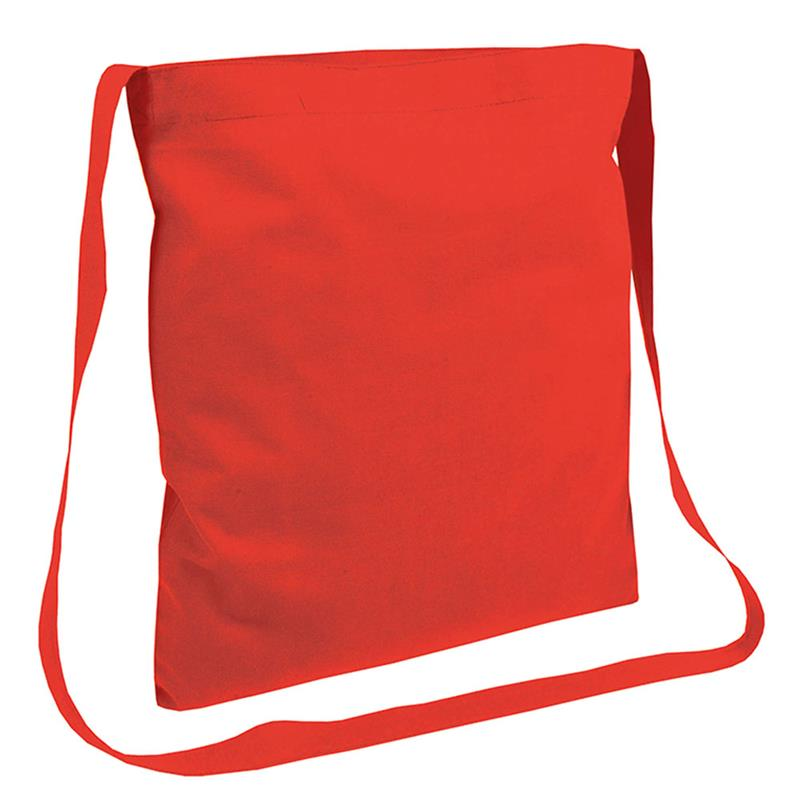 shopper in cotone rosso senza soffietti manici tracolla