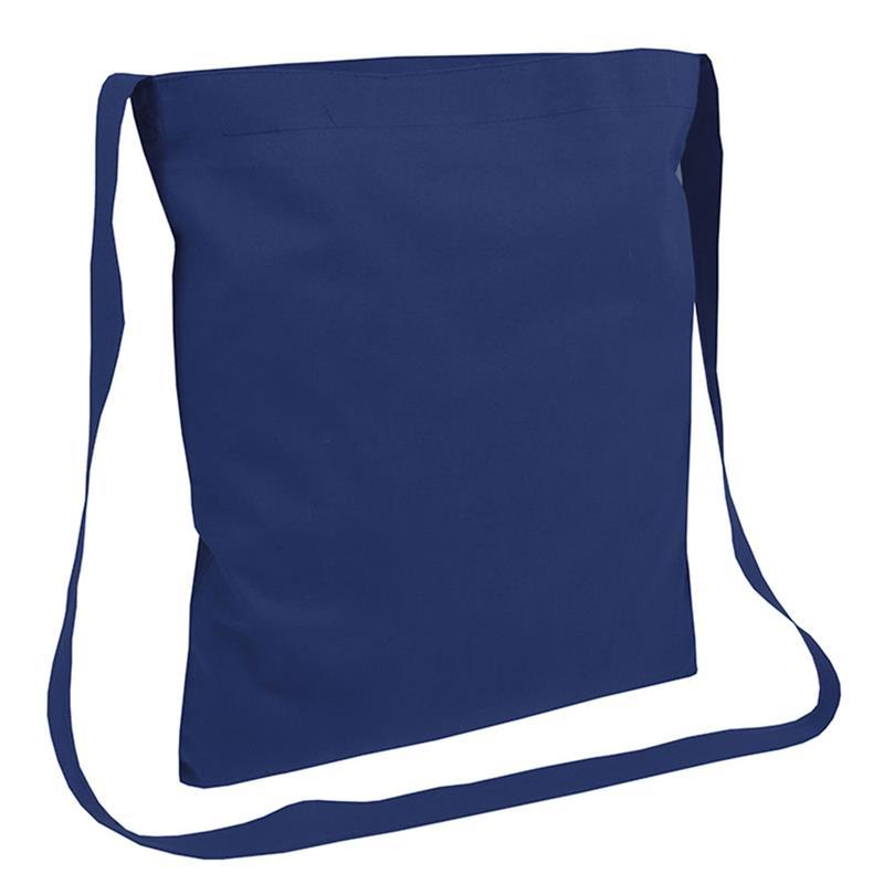 shopper in cotone blu navy senza soffietti manici tracolla