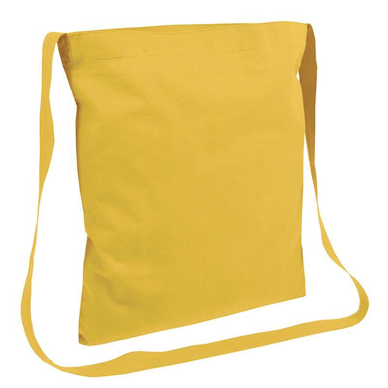 shopper in cotone giallo senza soffietti manici tracolla