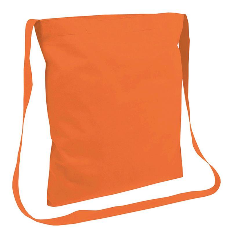 shopper in cotone arancio senza soffietti manici tracolla