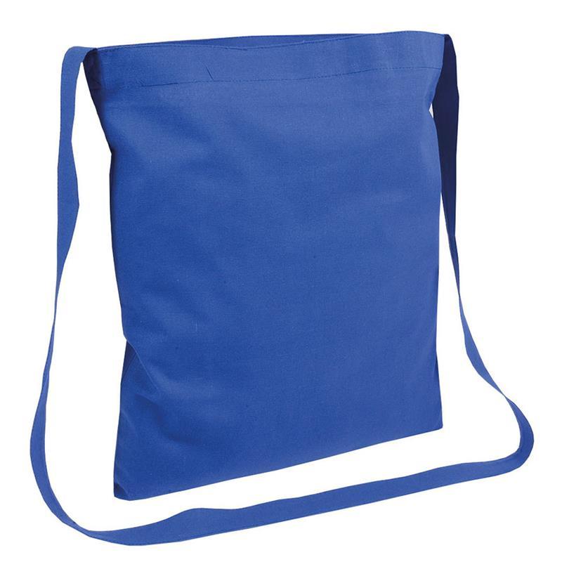 shopper in cotone blu royal senza soffietti manici tracolla