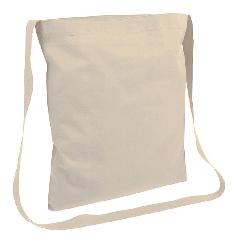 shopper in cotone naturale senza soffietti manici tracolla
