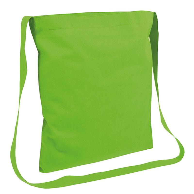 shopper in cotone verde mela senza soffietti manici tracolla