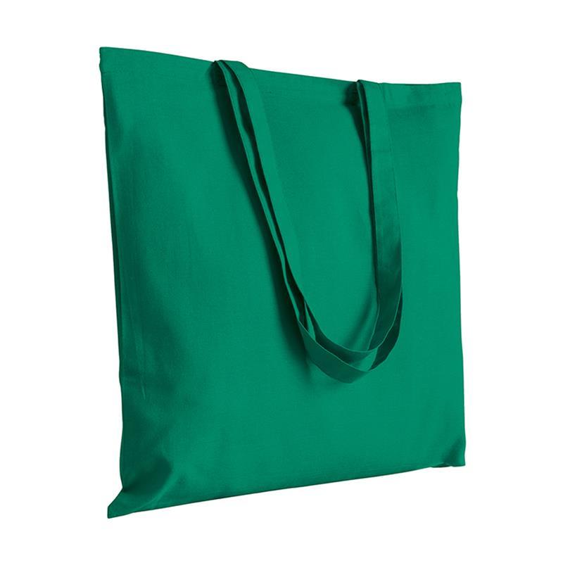 shopper in cotone verde senza soffietti manici cotone