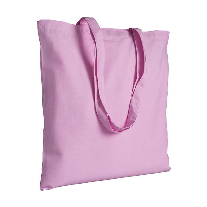 shopper in cotone rosa senza soffietti manici cotone