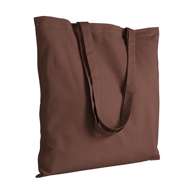 shopper in cotone marrone senza soffietti manici cotone