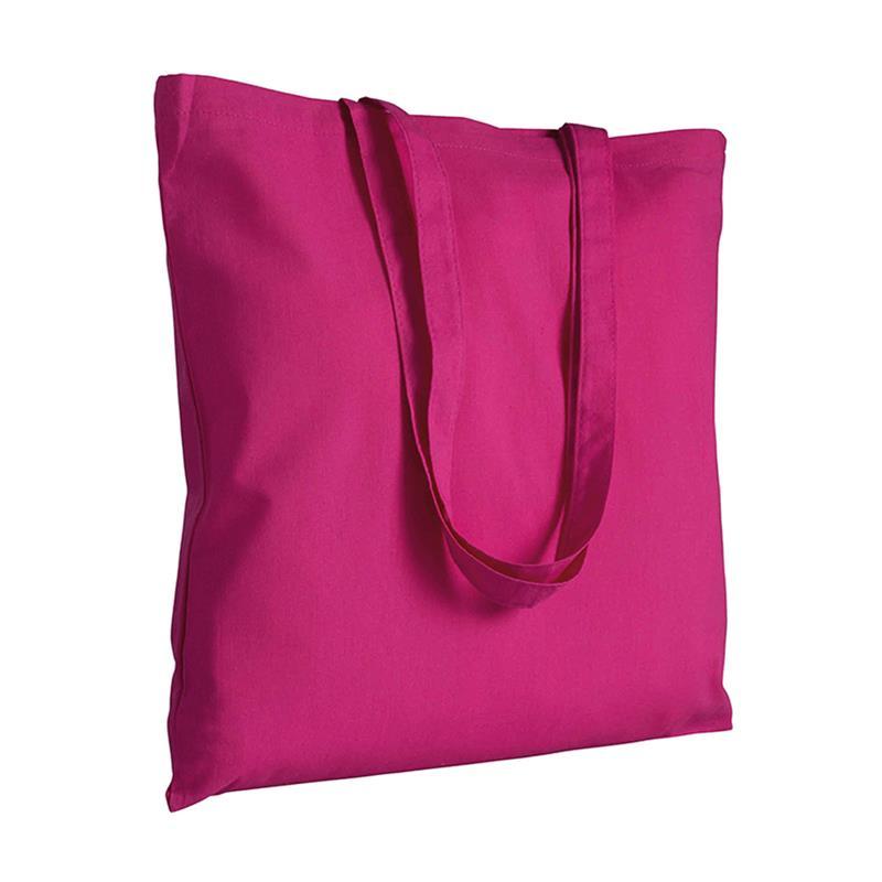 shopper in cotone fuxia senza soffietti manici cotone