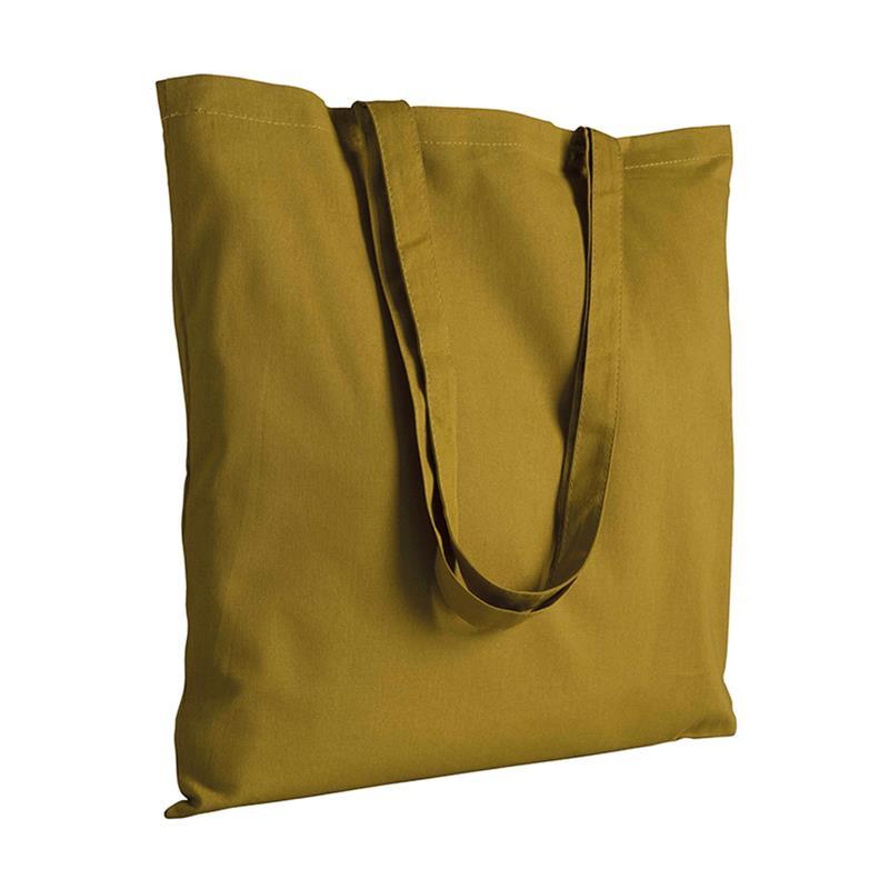 shopper in cotone verde militare senza soffietti manici cotone