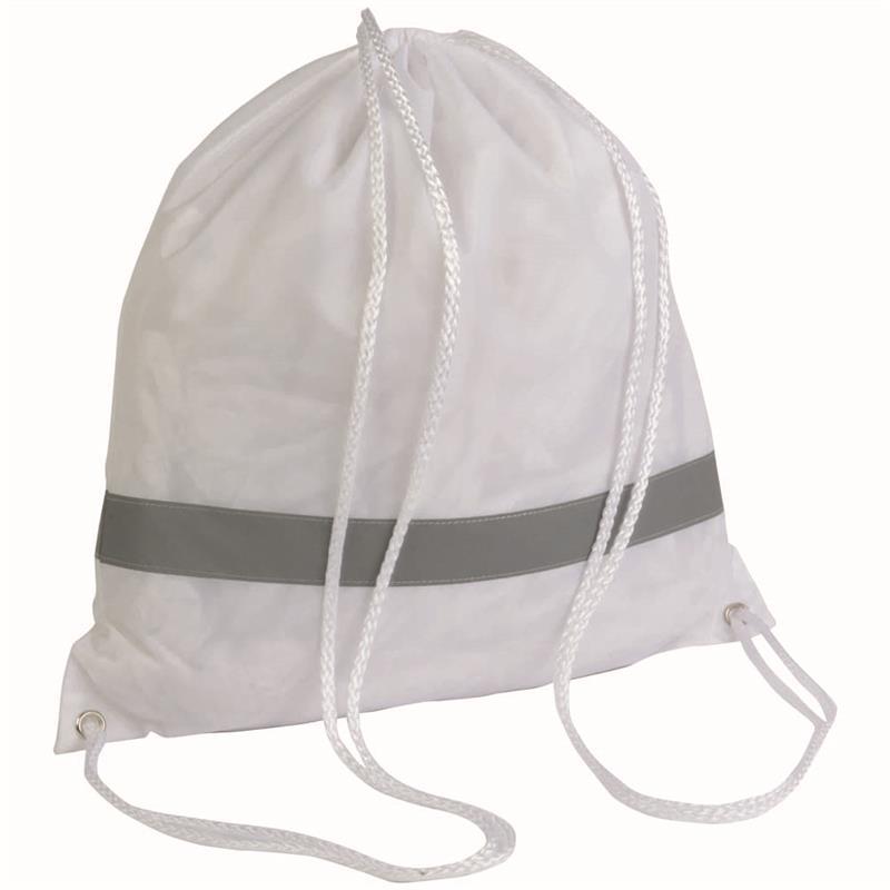 sacca in poliestere bianco con banda catarifrangente