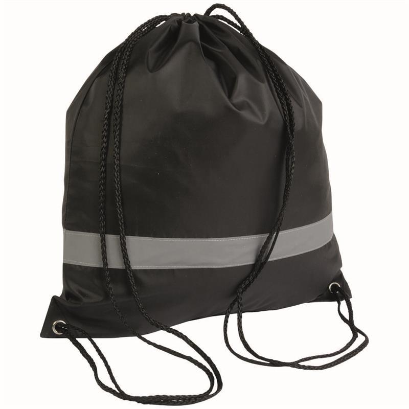 sacca in poliestere nero con banda catarifrangente