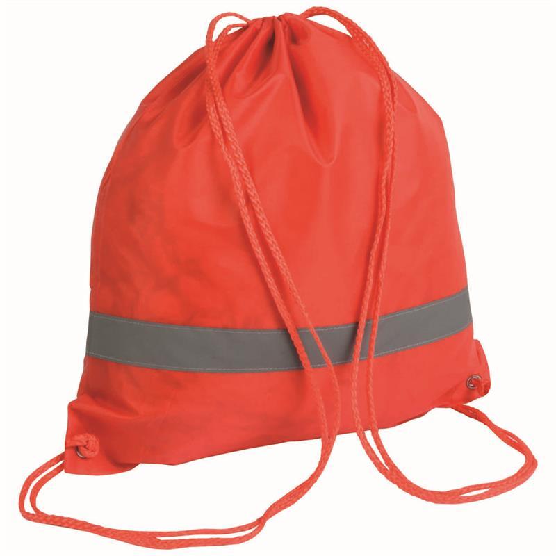 sacca in poliestere rosso con banda catarifrangente