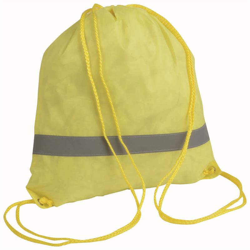 sacca in poliestere giallo con banda catarifrangente