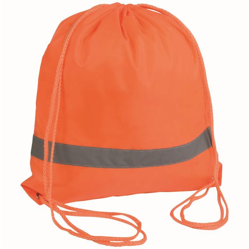 sacca in poliestere arancio con banda catarifrangente