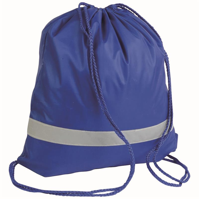 sacca in poliestere blu royal con banda catarifrangente