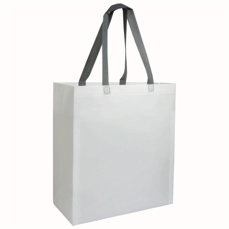 shopper in tnt laminato bianco con soffietti e manici tnt