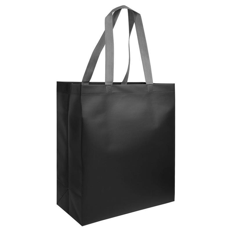 shopper in tnt laminato nero con soffietti e manici tnt
