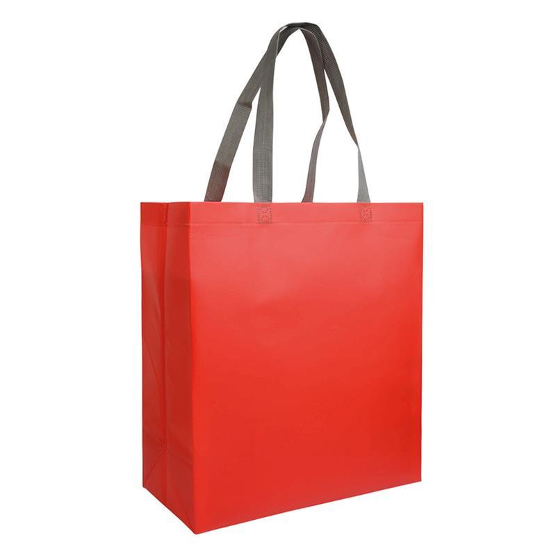 shopper in tnt laminato rosso con soffietti e manici tnt