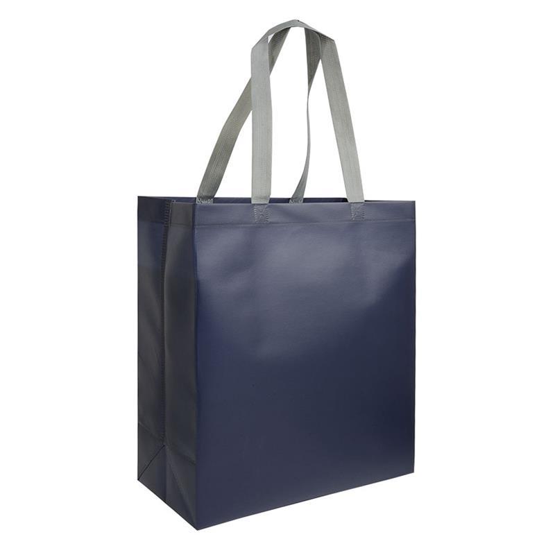 shopper in tnt laminato blu navy con soffietti e manici tnt