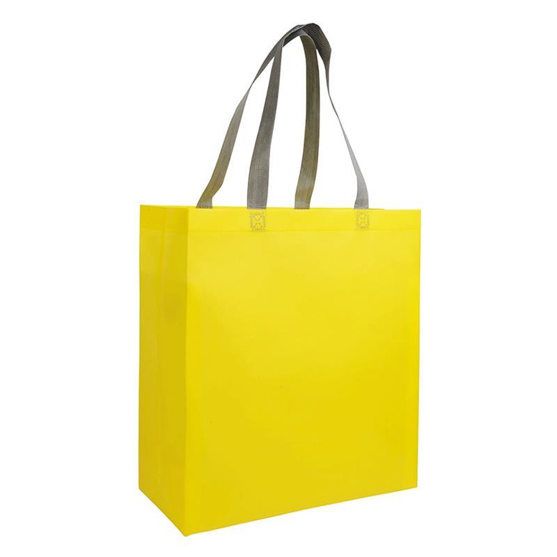 shopper in tnt laminato giallo con soffietti e manici tnt