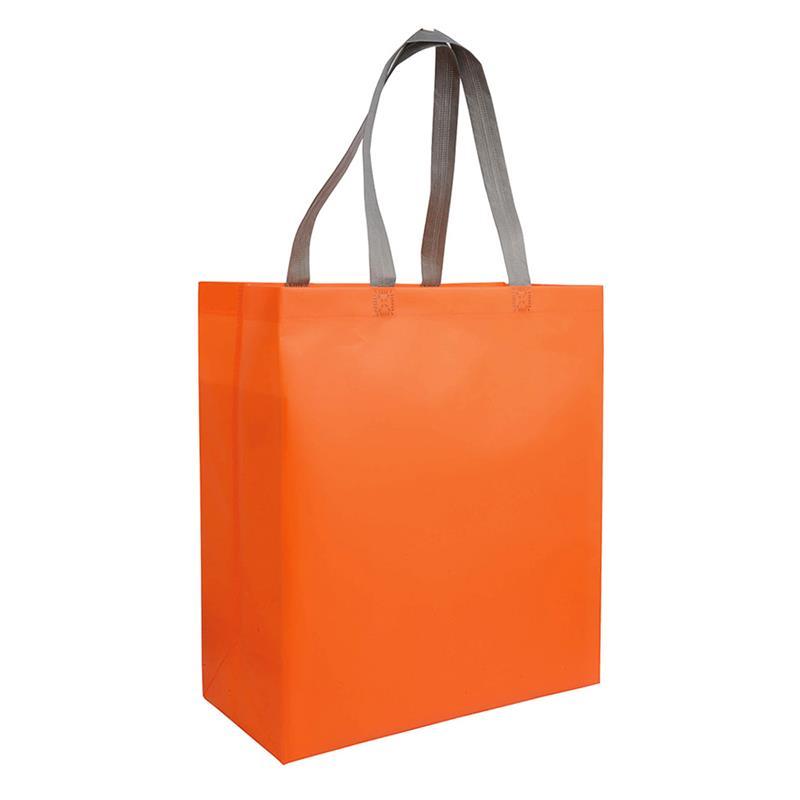shopper in tnt laminato arancio con soffietti e manici tnt