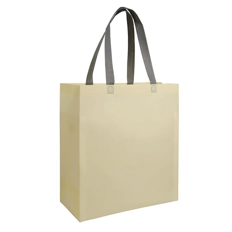 shopper in tnt laminato beige con soffietti e manici tnt