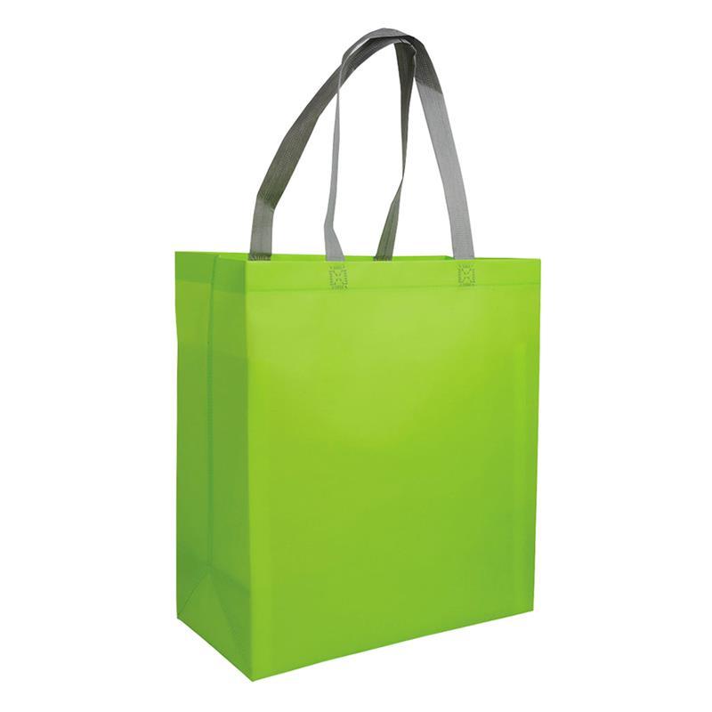 shopper in tnt laminato verde mela con soffietti e manici tnt