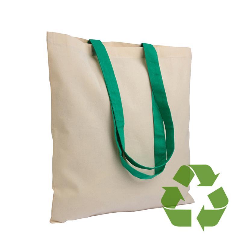 shopper in cotone naturale senza soffietti manici cotone verde
