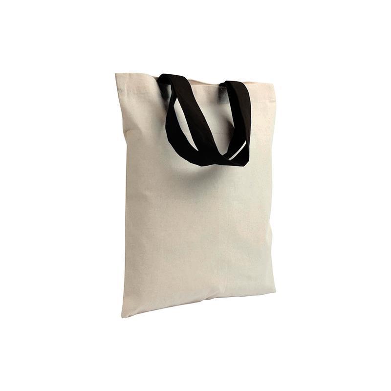 shopper in cotone naturale senza soffietti manici cotone nero