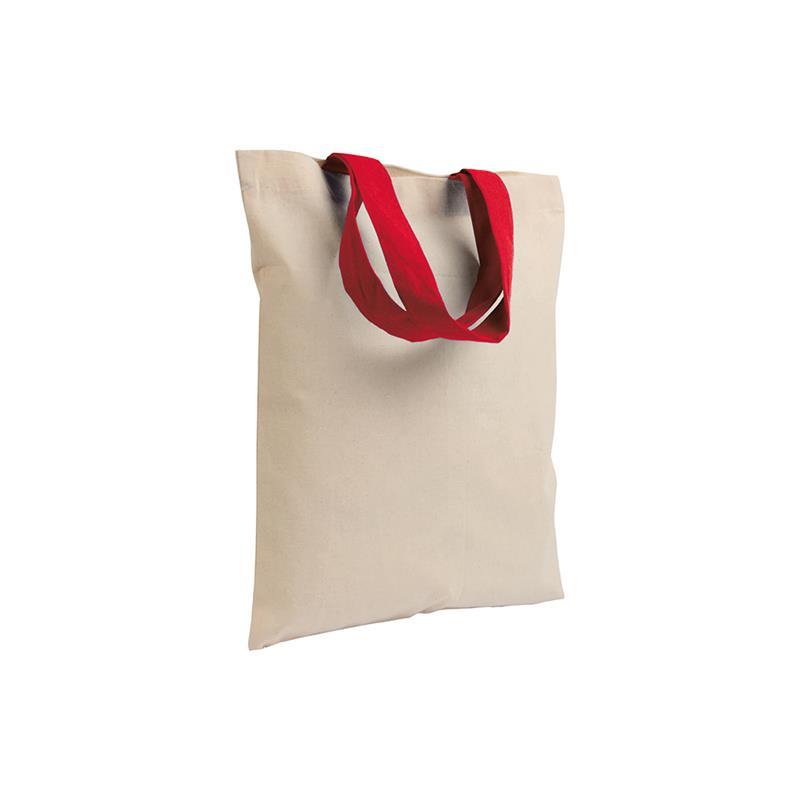 shopper in cotone naturale senza soffietti manici cotone rosso