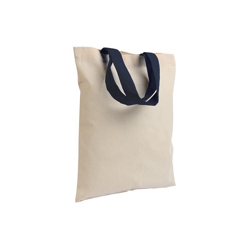 shopper in cotone naturale senza soffietti manici cotone blu navy