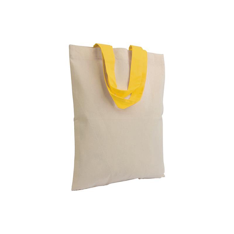 shopper in cotone naturale senza soffietti manici cotone giallo