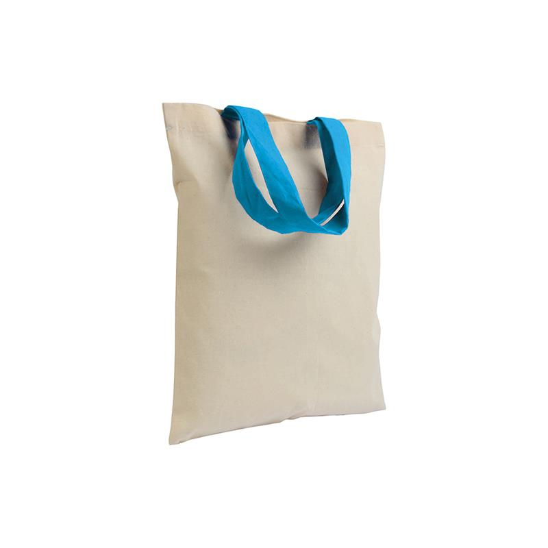 shopper in cotone naturale senza soffietti manici cotone celeste
