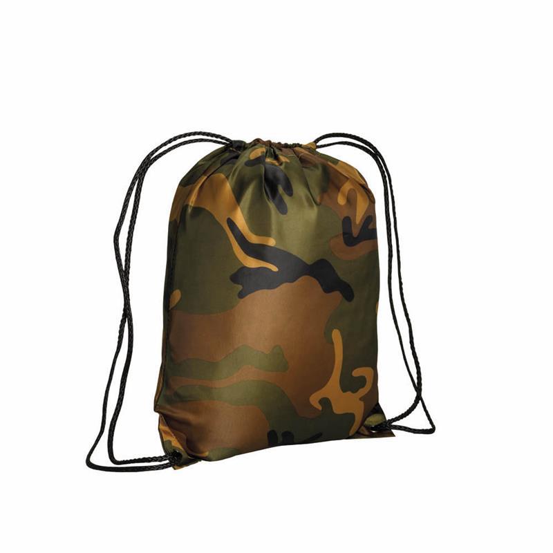 sacca in poliestere camouflage con lacci neri