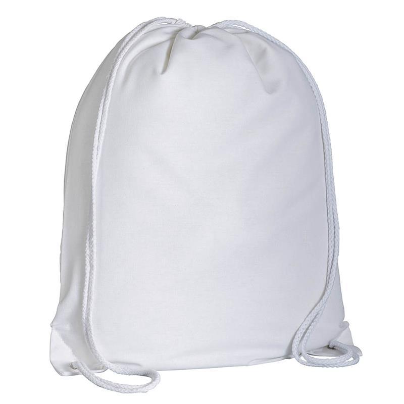 zaino in cotone bianco con lacci in cotone bianco