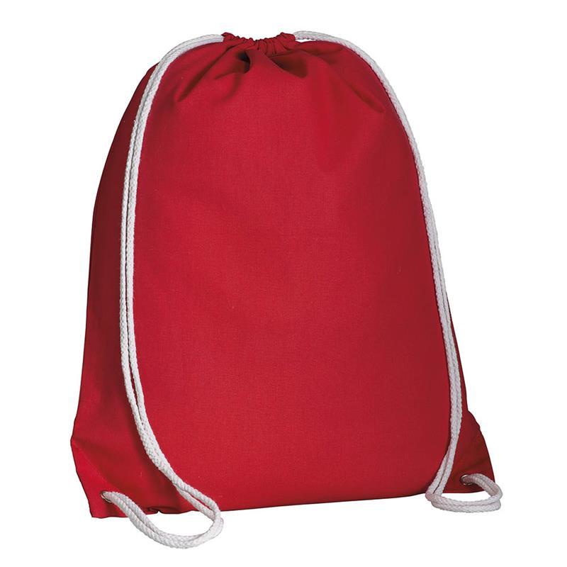 sacca in cotone rosso con lacci in cotone bianco